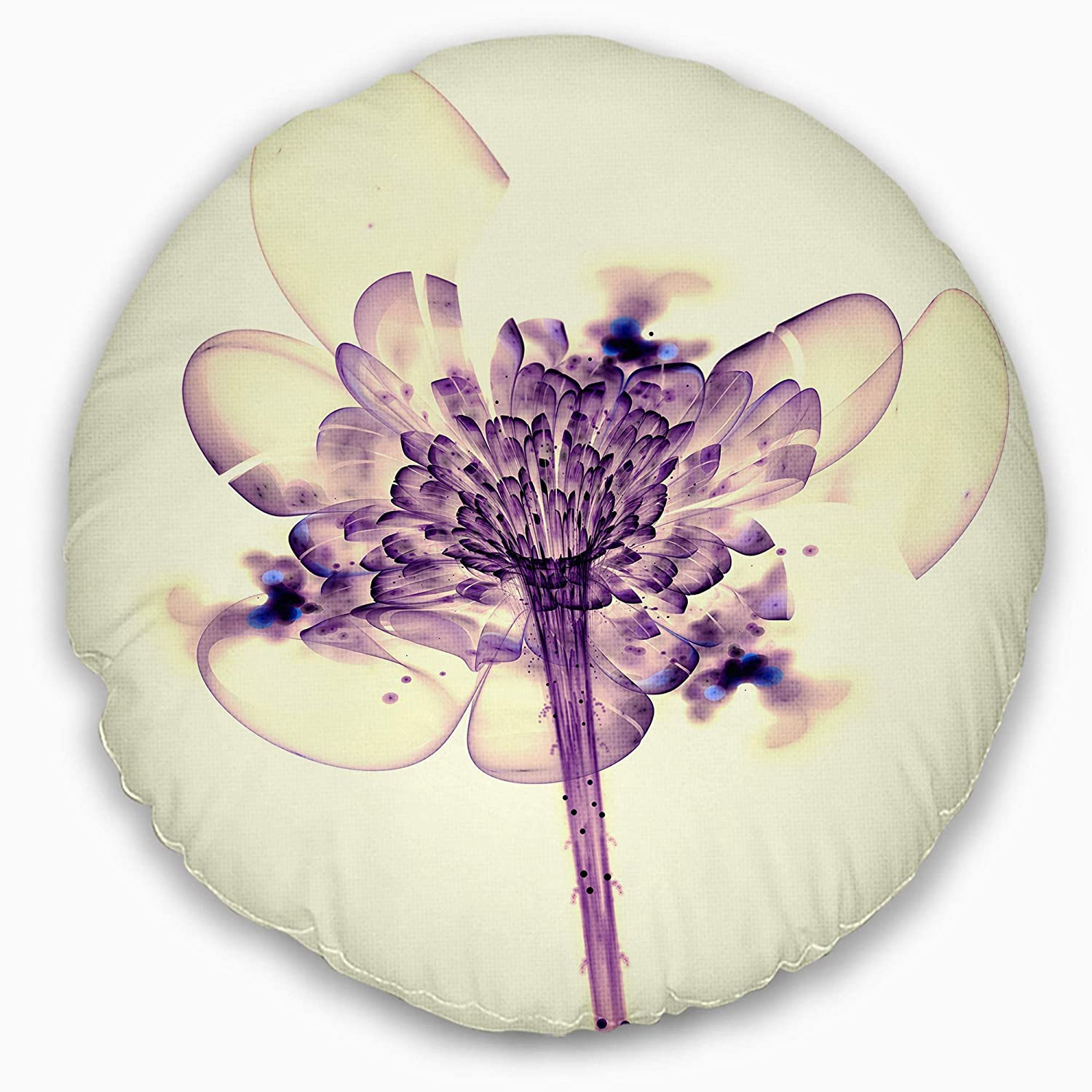 Sofa Throw Pillow 16 Designart CU8888-16-16-C Fractal Flower Light Pink Floral Round Cushion Cover for Living Room