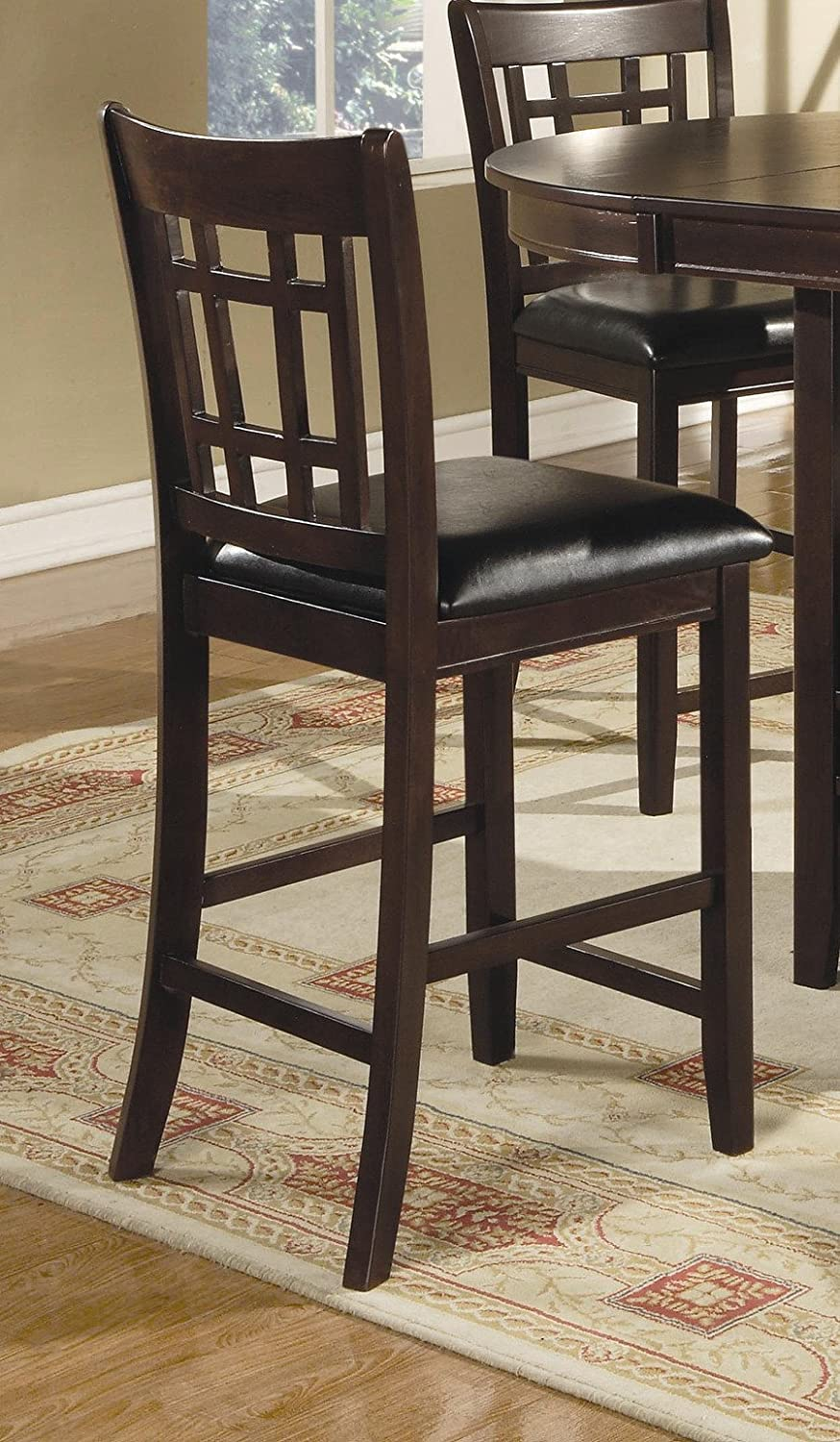 BK amazon kitchen chairs Amazon com Coaster Leather Look 2 Piece Pub Chair 24 height Cappuccino Black Kitchen Dining