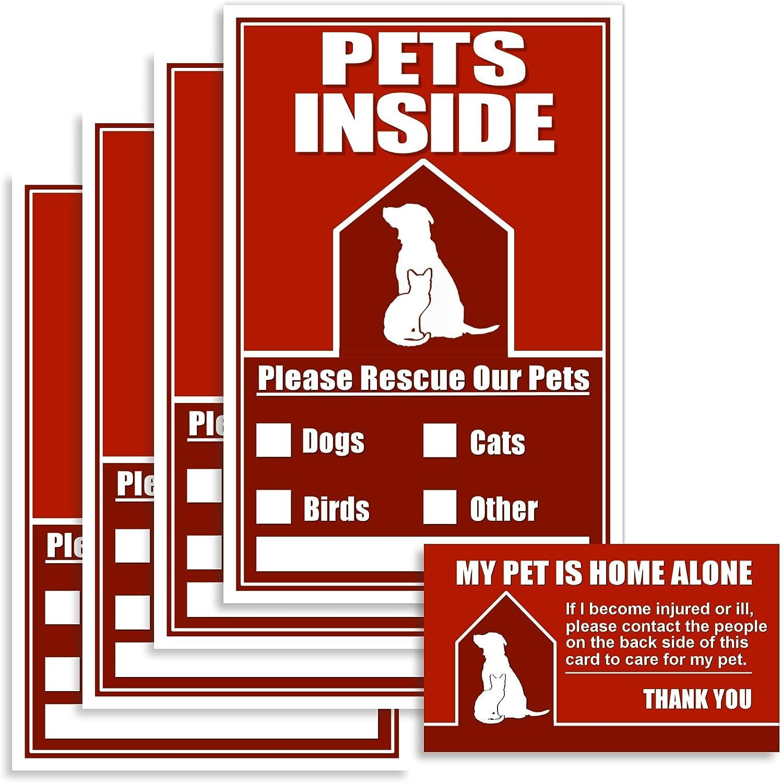 Safetpetz Fire Stickers Pets Emergency Pet Finder Window Sticker Kit 4 Pet Alert Stickers Your House 1 Pet Emergency Wallet Card