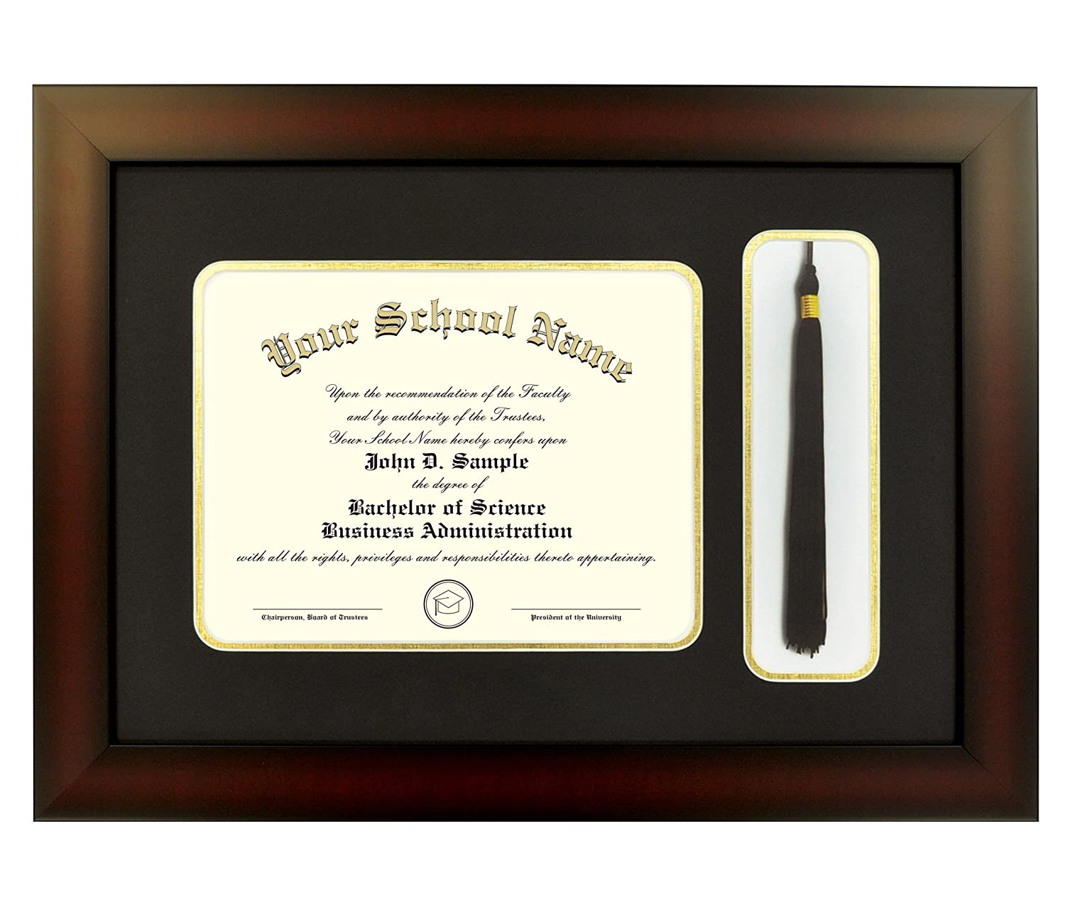 Amazon.com: Mahogany Finish Infinity Diploma Frame with Tassel Box ...
