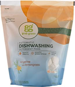Grab Green Natural Dishwasher Detergent Pods, Tangerine + Lemongrass—With Essential Oils, 60 Loads, Organic Enzyme-Powered, Plant & Mineral-Based