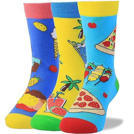 Kids Boys Socks Space Animal Novelty Cotton Patterned Dress Seamless Toe,3 Pairs