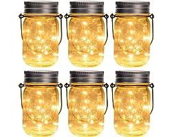 GIGALUMI Hanging Solar Mason Jar Lights, 6 Pack 30 Led String Fairy lights Solar Lanterns Table Lights, 6 Hangers and Jars in