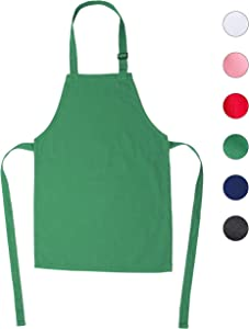 ONEOMI Kids Apron, Small, 100% Cotton with an Adjustable Strap to fit All Ages, Ideal for Cooking, Baking, Painting, Decorating, Party, Chef, Art and Classroom Children Apron (1, Green)