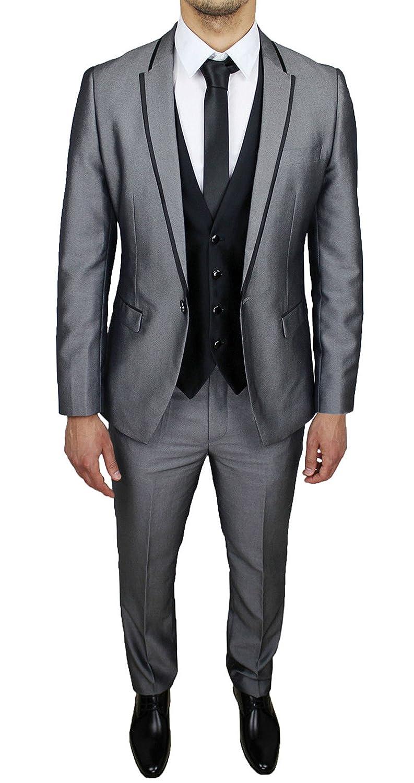 Abito completo uomo sartoriale grigio con gilet e coordinato cravatta in  coordinato e nuovo elegante cerimonia 06ed73ca211