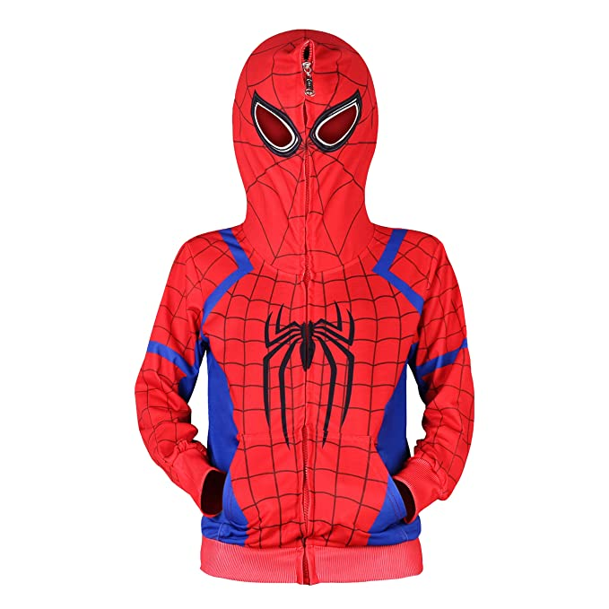 Spiderman Sudadera con Capucha Cosplay Disfraz Cremallera Suéter Chándal Abrigo Pantalón Regalos para niños