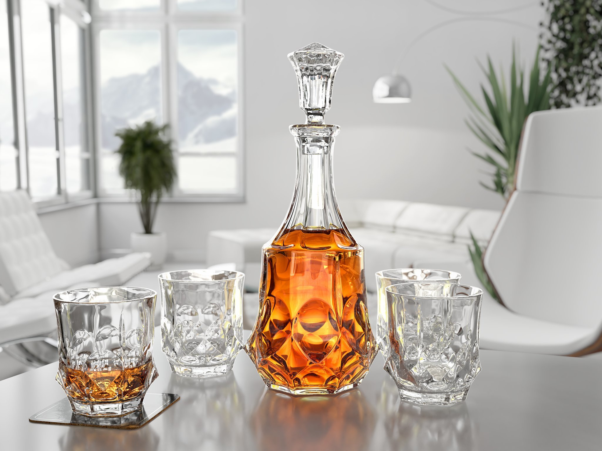 Ashcroft Imperial Whiskey Decanter Set - Lead Free Crystal Glasses for Scotch, Rum, Old Fashioned 5 Piece by Ashcroft Fine Glassware (Image #5)