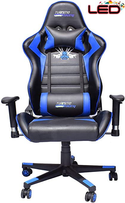 Fantastic Turismo Racing 2020 Series Blue Led Gaming Chair Big And Tall Black And Blue Seat Has Dual Memoryfoam System For Optimum Comfort In Gaming For Big Alphanode Cool Chair Designs And Ideas Alphanodeonline