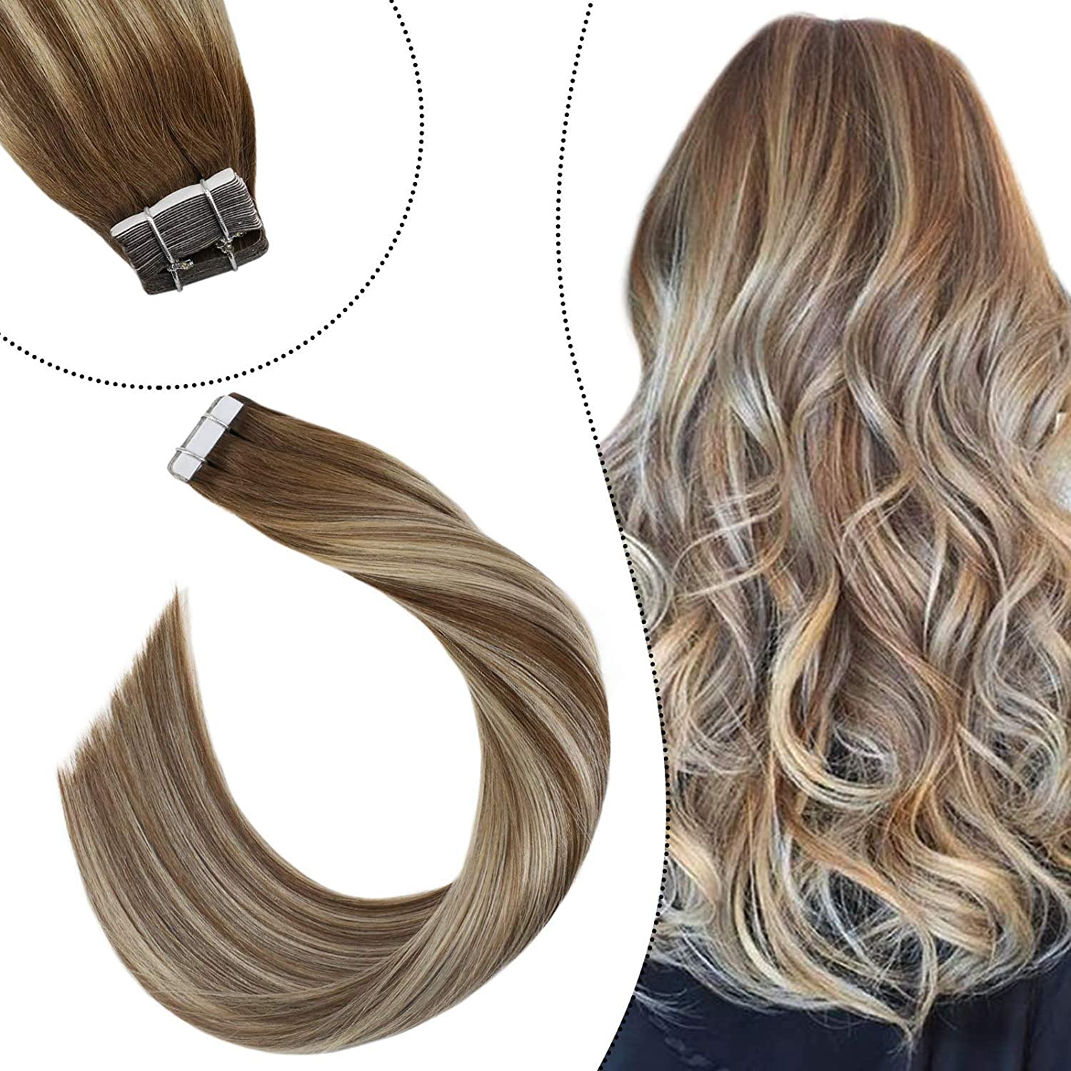 Ugeat 24 Pulgadas Tape in Extensiones Cabello Natural Brasileno #9A con #60 Blonde Ombre Skin Weft Remy Cabello Humano Extensiones 20pcs/50g