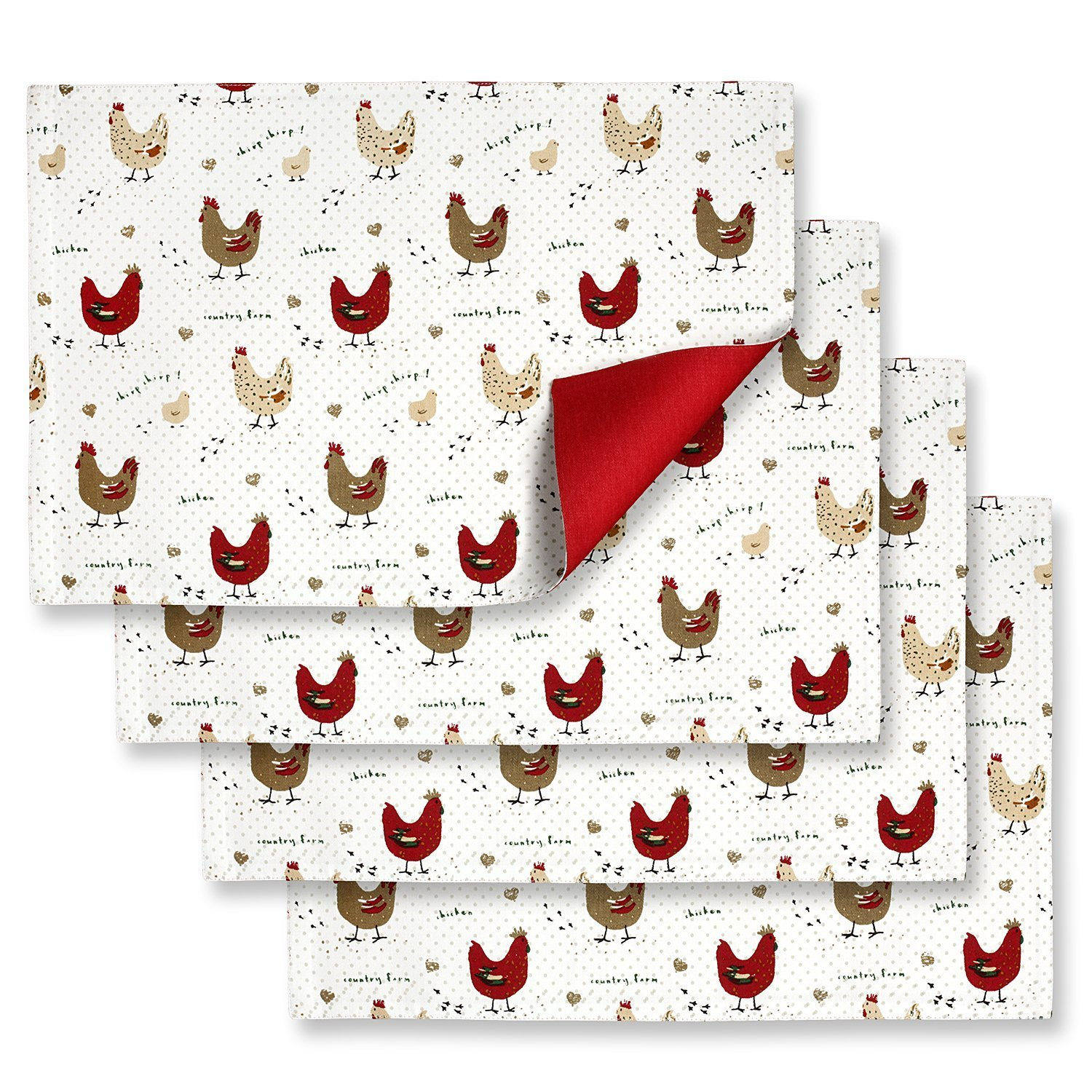 Cackleberry Home Farmhouse Chicken Placemats 13 x 19 Inches Cotton Reversible, Set of 4