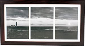 8x16 Collage Dark Cherry Picture Frame with Three 5x7 Inch Openings - Wide Molding - Includes Both Attached Hanging Hardware and Desktop Easel - Display Three 5 x 7 Photos Horizontal or Vertical