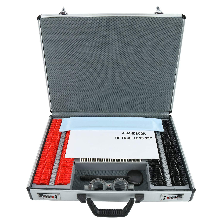 Yaegoo 232 Trial Lens Set Optometry Plastic Rim Ophthalmic Trial Case Lenses Aluminum Case