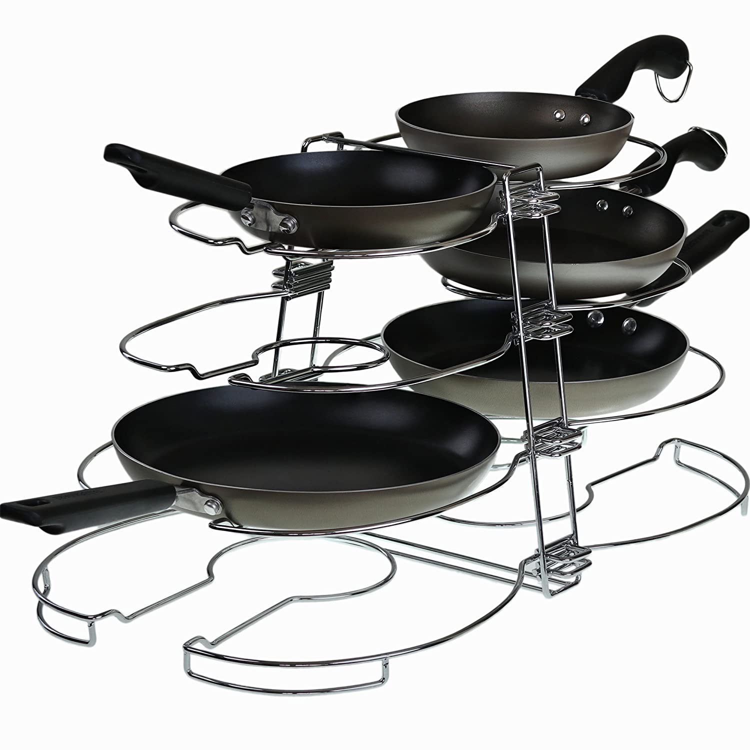 Introducing Spezia Double Pot & Lid Organizer, Holds up to 8 Pans & Lids with Unique Adjustable Racks Feature for an Improved Kitchen Organization. Amazing Cabinet, Drawer & Shelf Cookware Holder.
