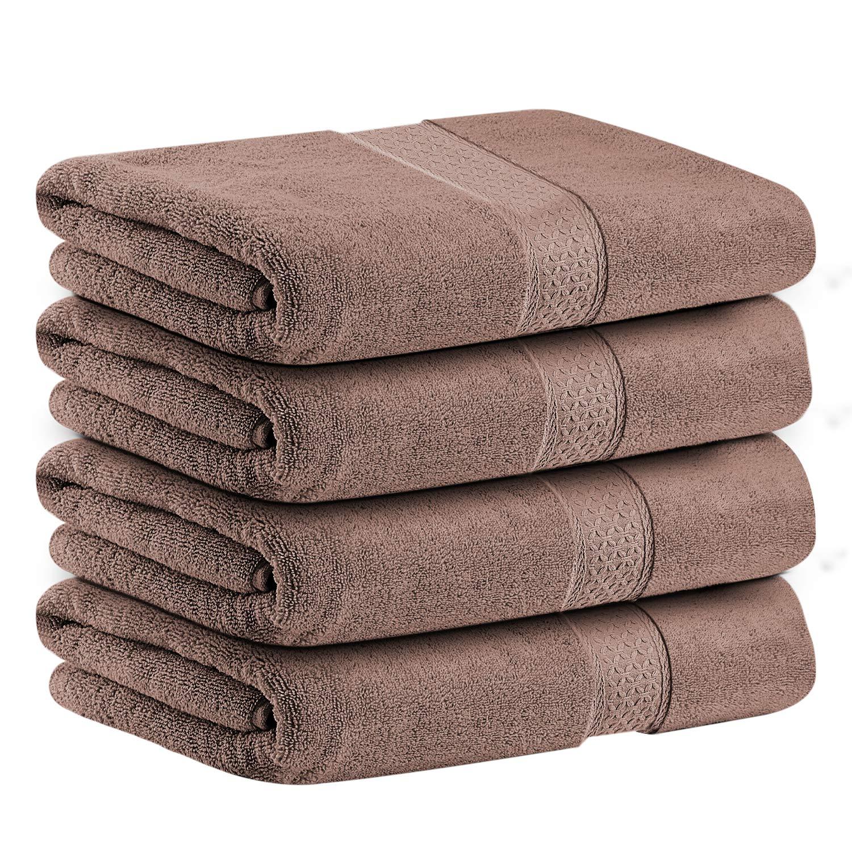 CDM product LiveComfort 4 Pack Bath Towel Set, Super Soft Absorbent Bath Towels for Bath/Hotel/Spa/Salon/Pool, 100% Cotton and Machine Washable (Brown) big image
