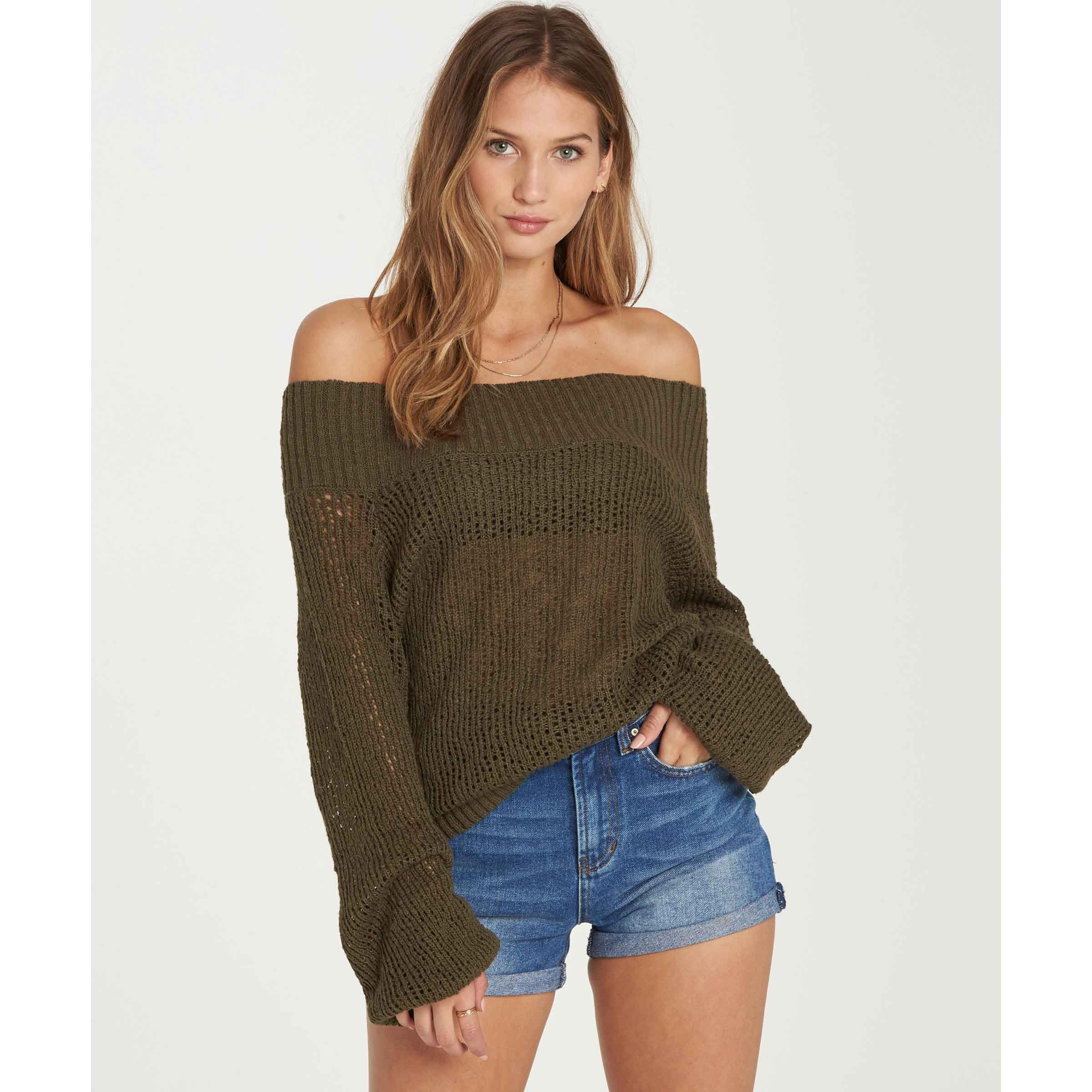 Billabong Women's Rolled up Sweater, Olive, S