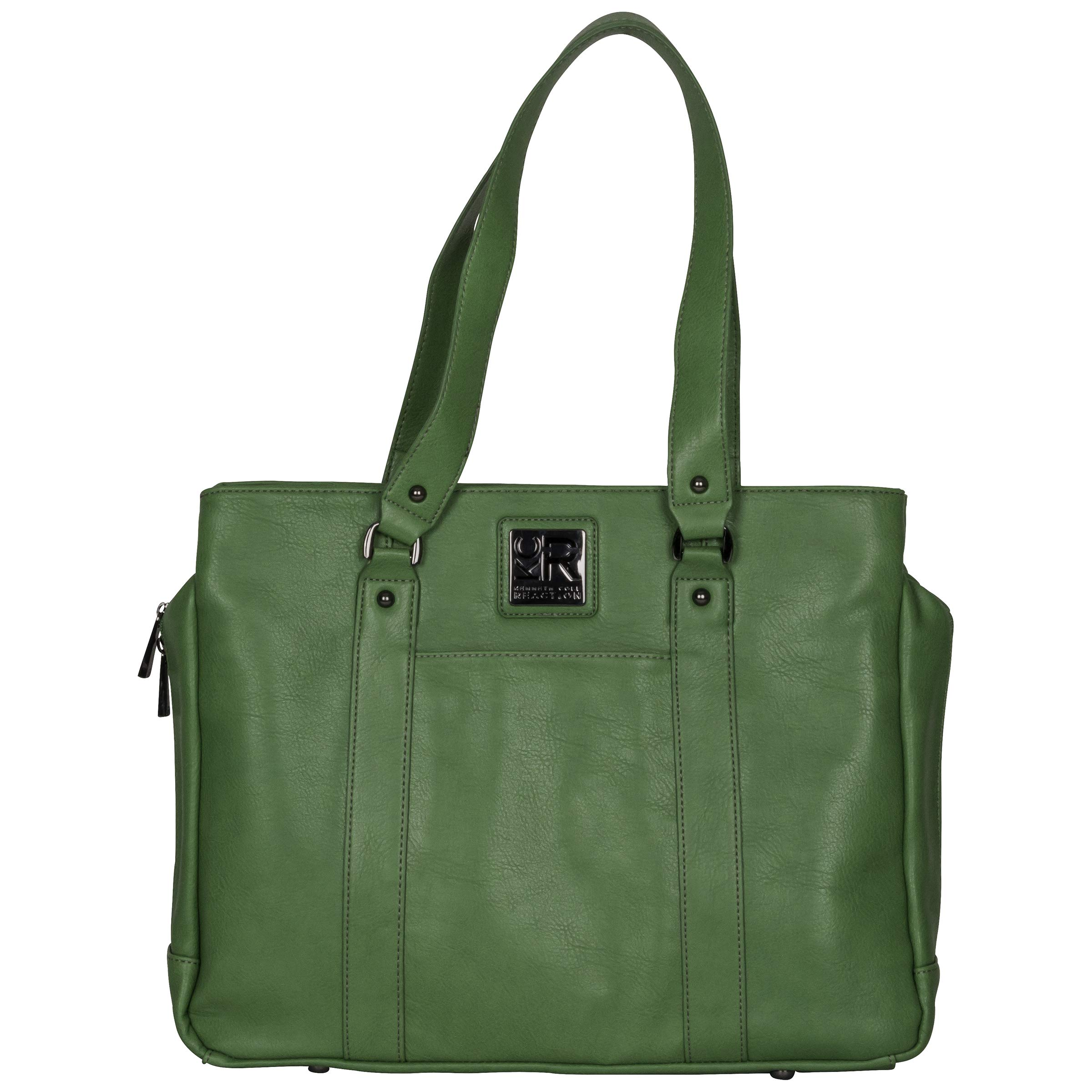 Kenneth Cole Reaction Hit Women's Pebbled Faux Leather Triple Compartment 15'' Laptop Business Tote, Kelly Green