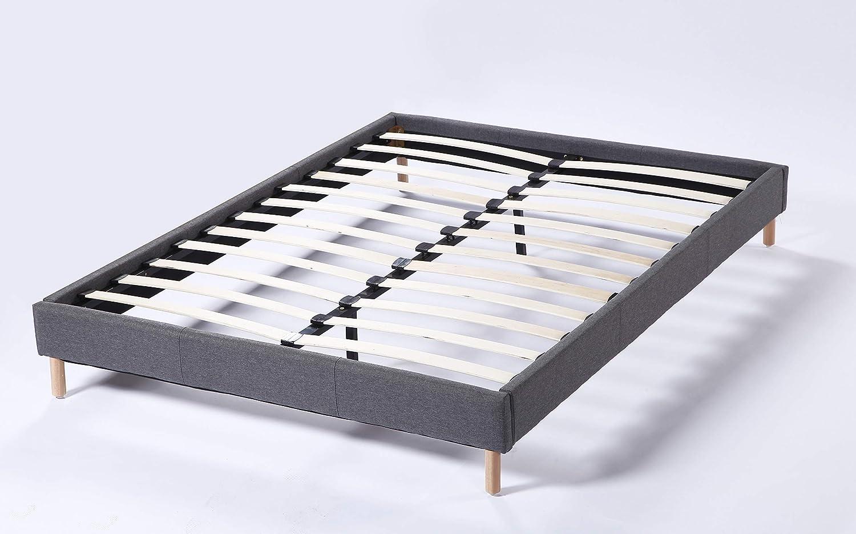 Cama futón doble con somier y patas de madera, revestimiento de tela gris (140_x_190_cm)