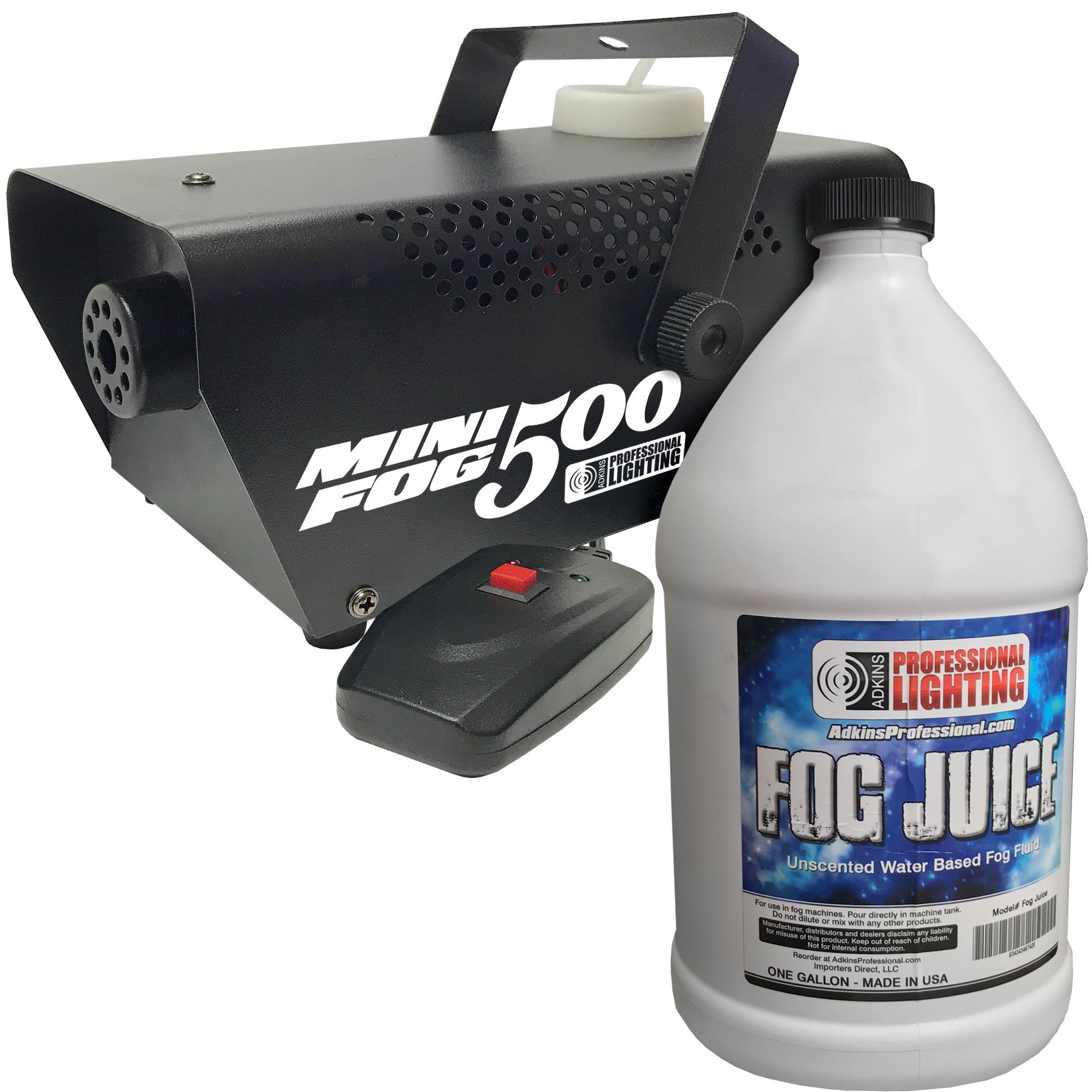 Fog Machine - 500 Watt Mini Fog Machine with Remote and 1 Gallon Fog Juice - Impressive 2,000 Cubic ft. per minute by Adkins Profesional Lighting
