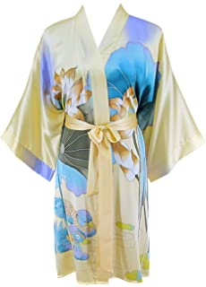 Ledamon Women s 100% Silk Kimono Short Robe - Classic Handpainted Enclosed  in an Elegant Gift 7204e25d6