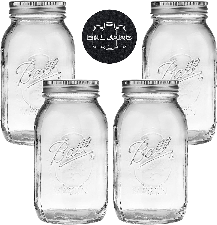 Ball Mason Jars 32 oz Bundle with Non Slip Jar Opener brand BHL Jars - Set of 4 Quart Size Mason Jars with Regular Mouth - Canning Glass Jars with Lids, Heritage Collection