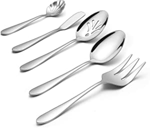 LIANYU Serving Utensils, 5 Pieces Stainless Steel Hostess Silverware Flatware Cutlery Serving Set, Mirror Finished, Dishwasher Safe