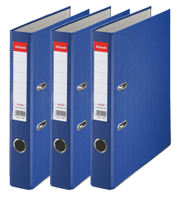 Esselte 624291 - Archivador con anillas (Capacidad 550 hojas, 3 unidades), azul, 75 mm: Amazon.es: Oficina y papelería
