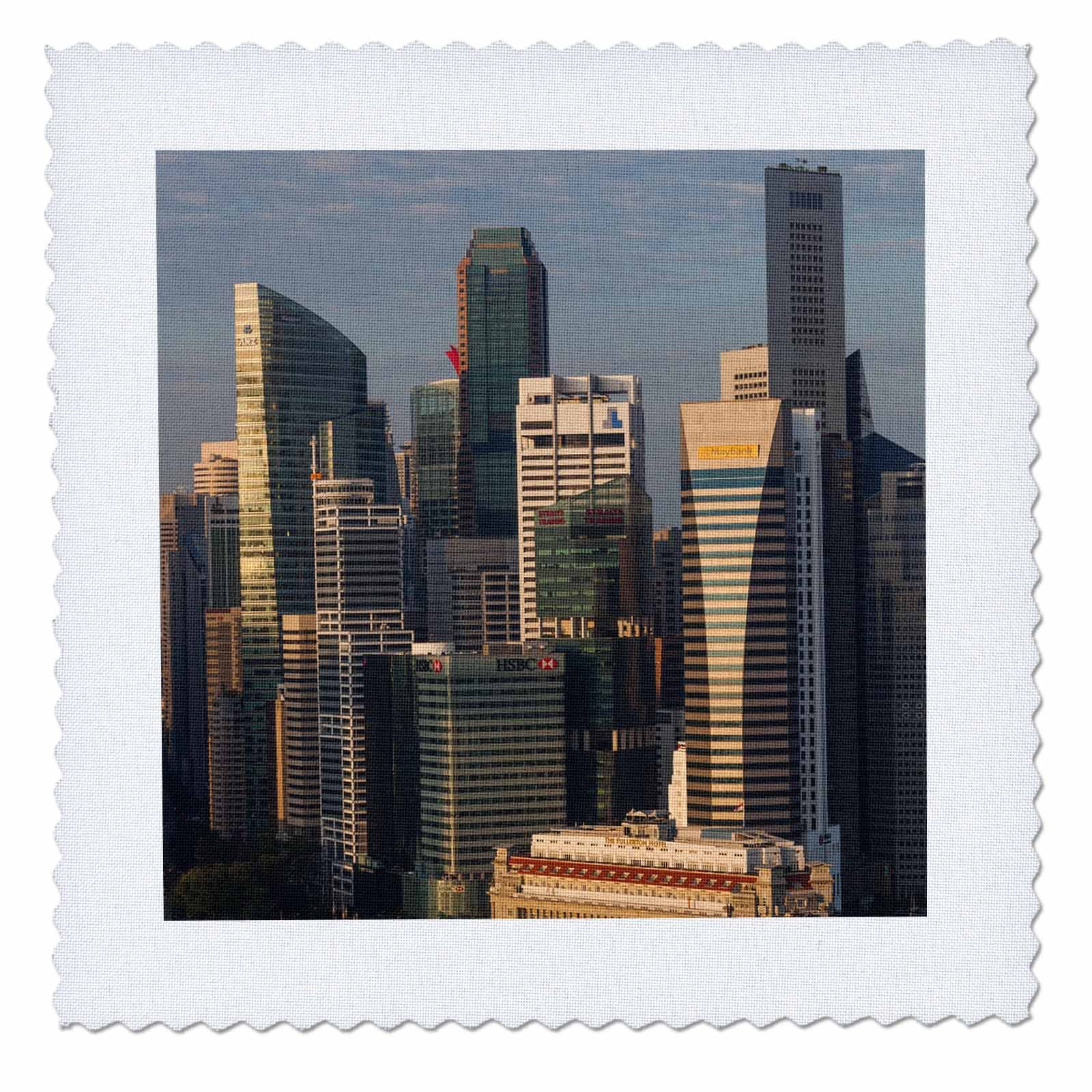3dRose Danita Delimont - Cities - Singapore, elevated skyline view above Fullerton Hotel, dawn - 16x16 inch quilt square (qs_257279_6)