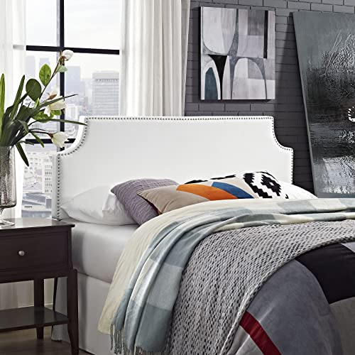 Modway Laura Upholstered Faux Leather Headboard With Cut-Out Edges and Nailhead Trim, Queen, White