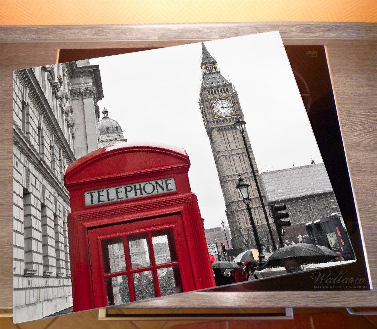 60x52cm London Red Bus England Big Ben weiß Herdabdeckplatte 1-teilig aus Glas