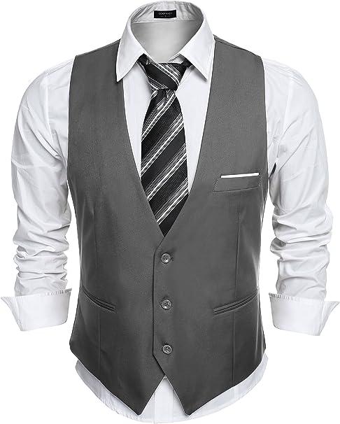 YOUTHUP Herren Slim Fit Weste Business Anzugweste Hochzeit V-Ausschnitt /Ärmellos Anzug Sakko Herrenweste
