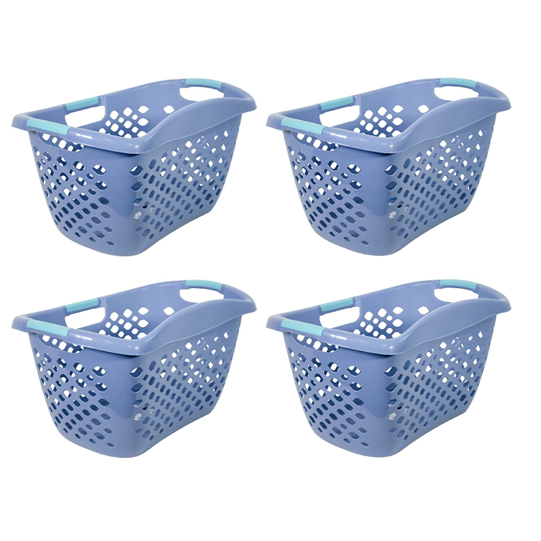 ホームLogic 7583 1.8ブッシェルヒップグリップランドリーバスケット、ブルー – 4パック B07D8RJSMM
