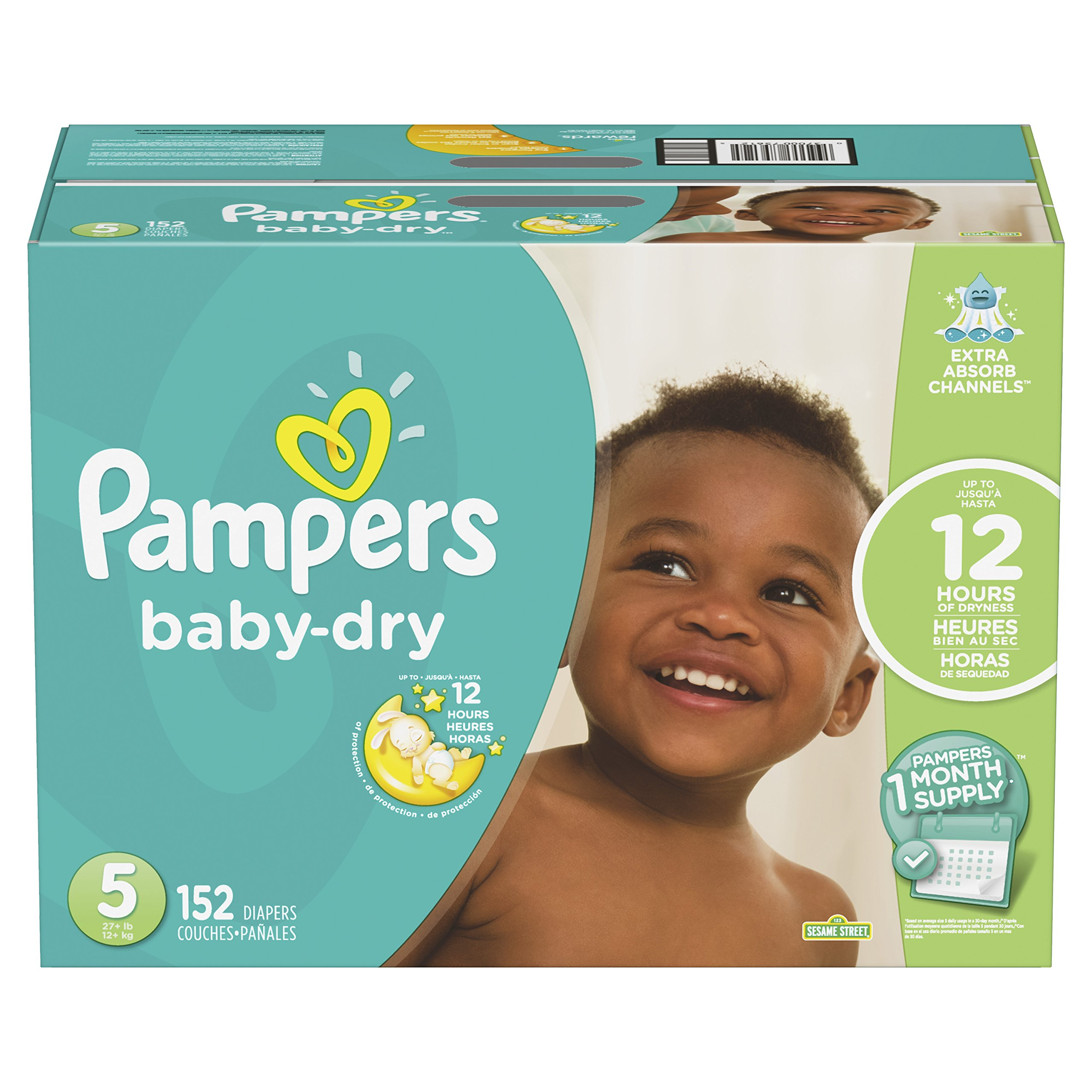 Pampers Baby-Dry Disposable Diapers Size 5, 152 Count, ONE Month Supply