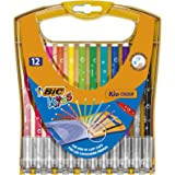 BIC Kids Ultra Washable Markers Medium Point - Assorted Colours, Durable Portable Case of 12 Felt Tip Pens with Built-In Caps