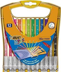BIC Kids Kid Couleur rotuladores punta media - colores Surtidos, Estuche de 12 unidades