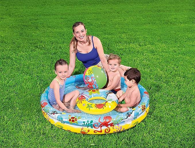 Waech - Set de piscina hinchable redonda (Bestway 51124-1.22x.20 m)