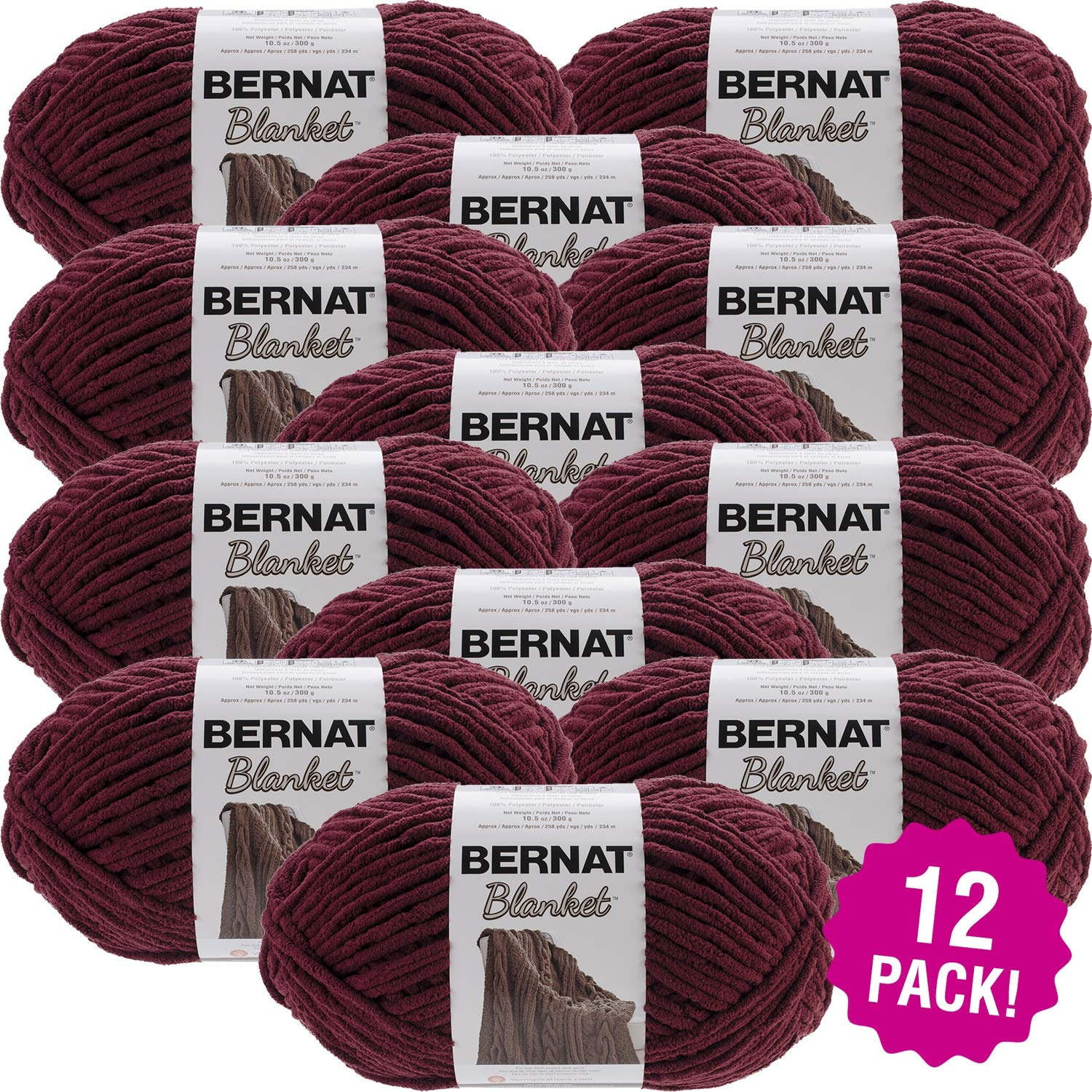 Bernat 99658 Blanket Big Ball Yarn-Purple Plum, Multipack of 12, Pack