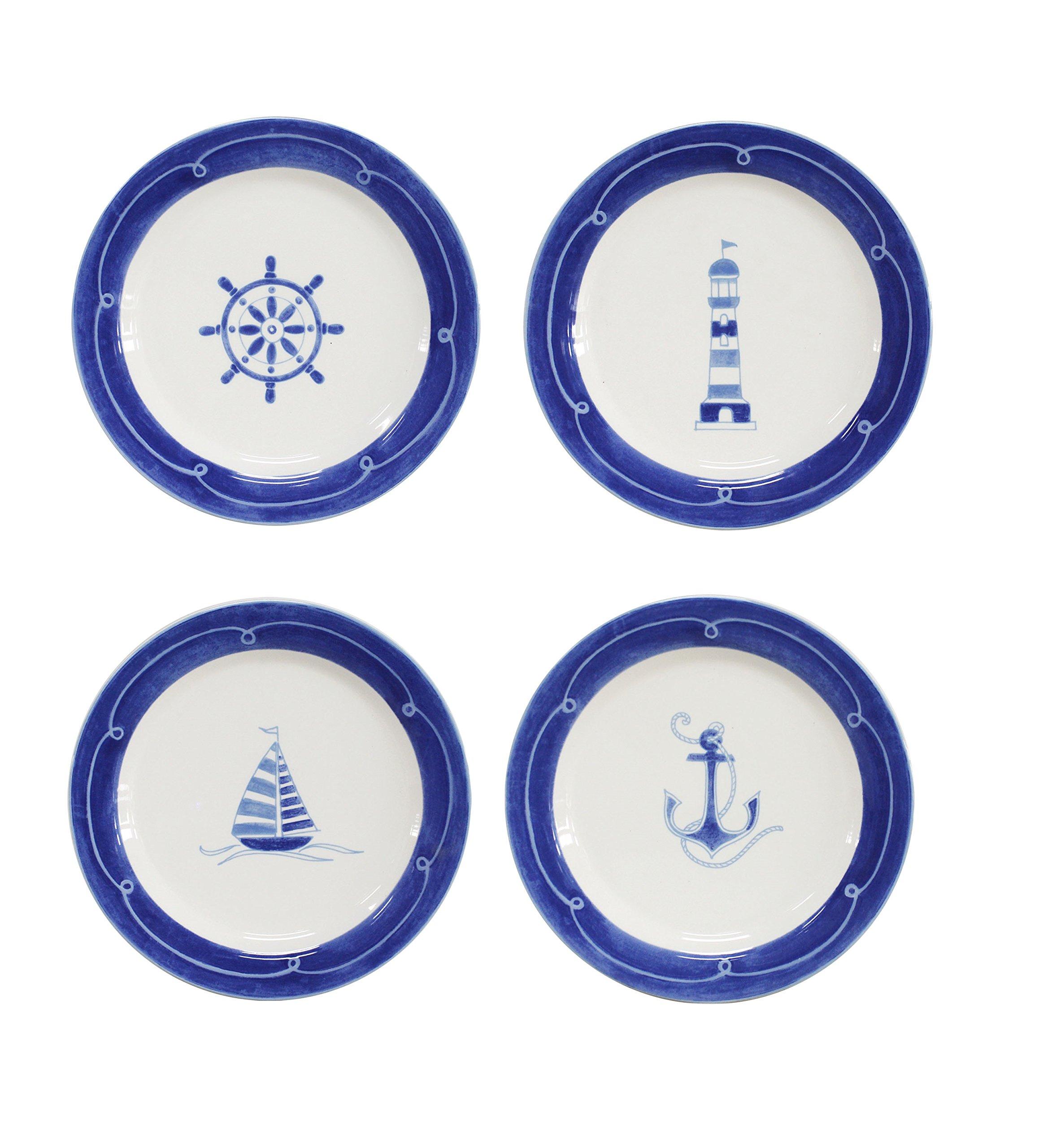Euro Ceramica Ahoy Collection Nautical 8.7'' Ceramic Salad/Dessert Plates, Set of 4, Assorted Designs, Blue & White