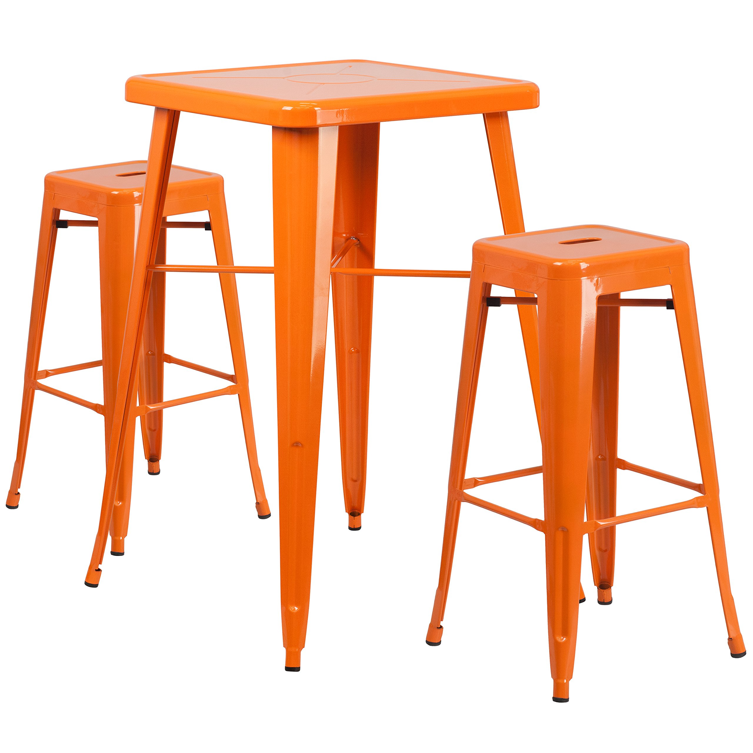 Flash Furniture 23.75'' Square Orange Metal Indoor-Outdoor Bar Table Set with 2 Square Seat Backless Stools by Flash Furniture (Image #1)