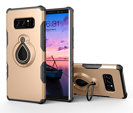 brand new f63c6 c4e63 Galaxy Note 8 Case, Note 8 Ring Case, Dairnim Stand Shockproof Support  Magnetic Car Mount Holder Case Compatible with Samsung Galaxy Note 8, Gold