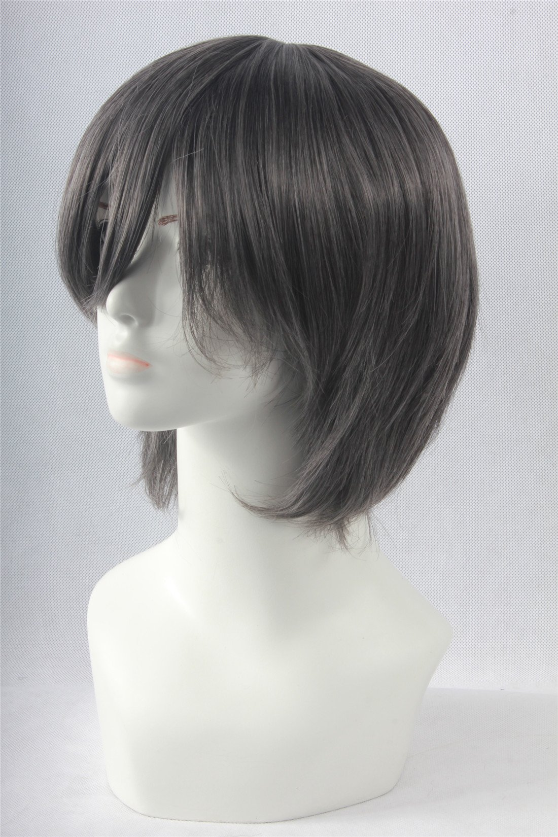 Icoser Anime Cosplay Party Wigs for Halloween Short Green Synthetic Hair 12'' 190g (Gray) by i-coser (Image #2)