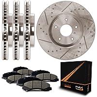Max Brakes Premium Slotted+Drilled Rotors w/Ceramic Pads Front + Rear Perforamnce Brake Kit KT091133 [Fits 2001-2005 Chrysler Sebring Dodge Caliber   2001-2005 Mitsubishi Eclipse]