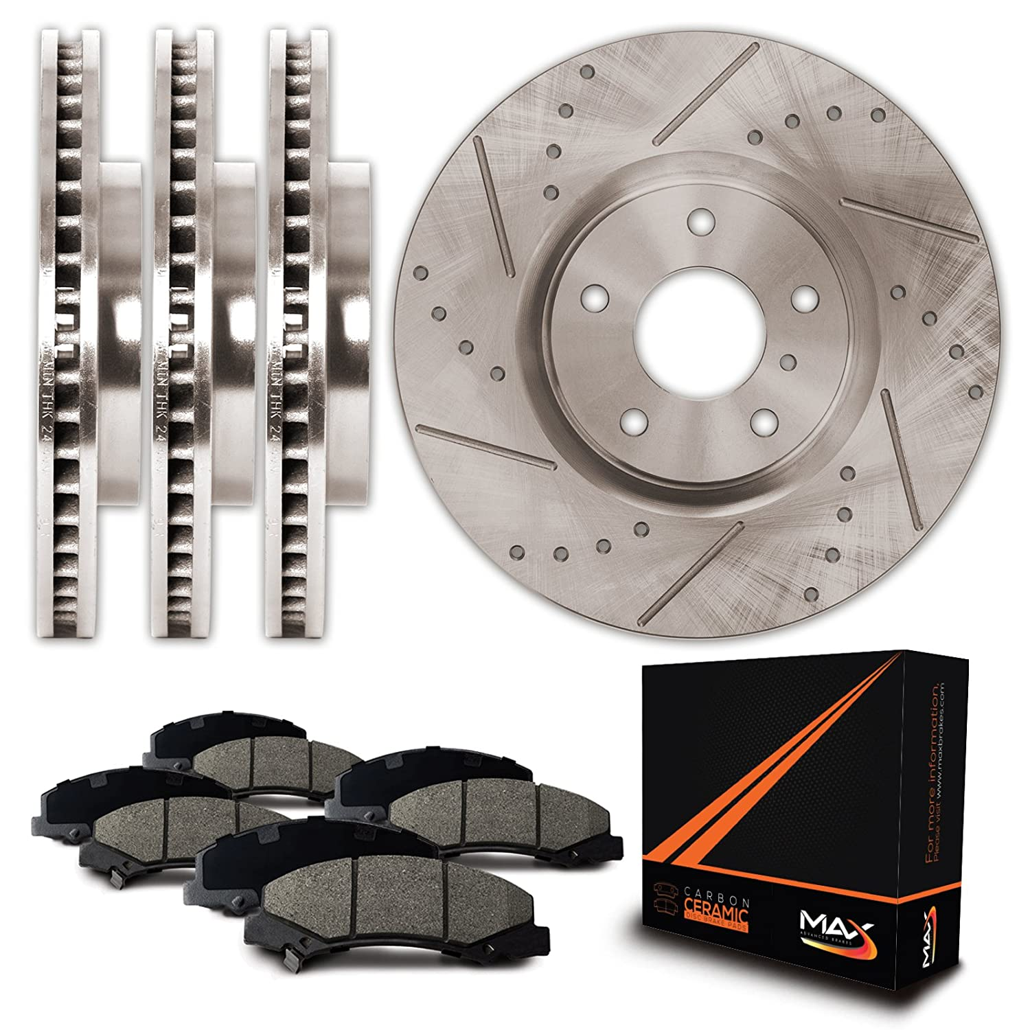 Max Brakes Premium Slotted|Drilled Rotors w/Ceramic Brake Pads Front + Rear Performance Brake Kit KT075233 [Fits:1998-2002 Chevy Camaro | Pontiac Firebird] Max Advanced Brakes