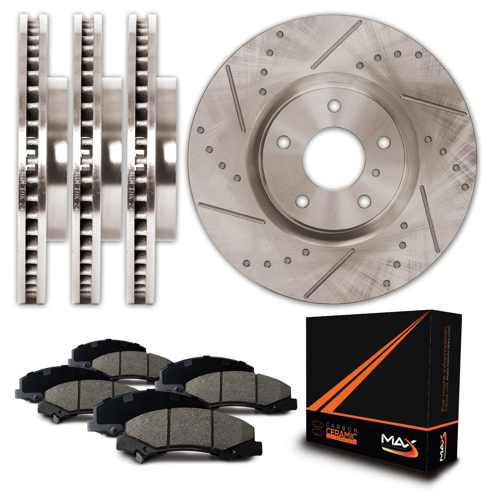 Max KT058833 Front + Rear Premium Slotted & Drilled Rotors and Ceramic Pads Combo Brake Kit
