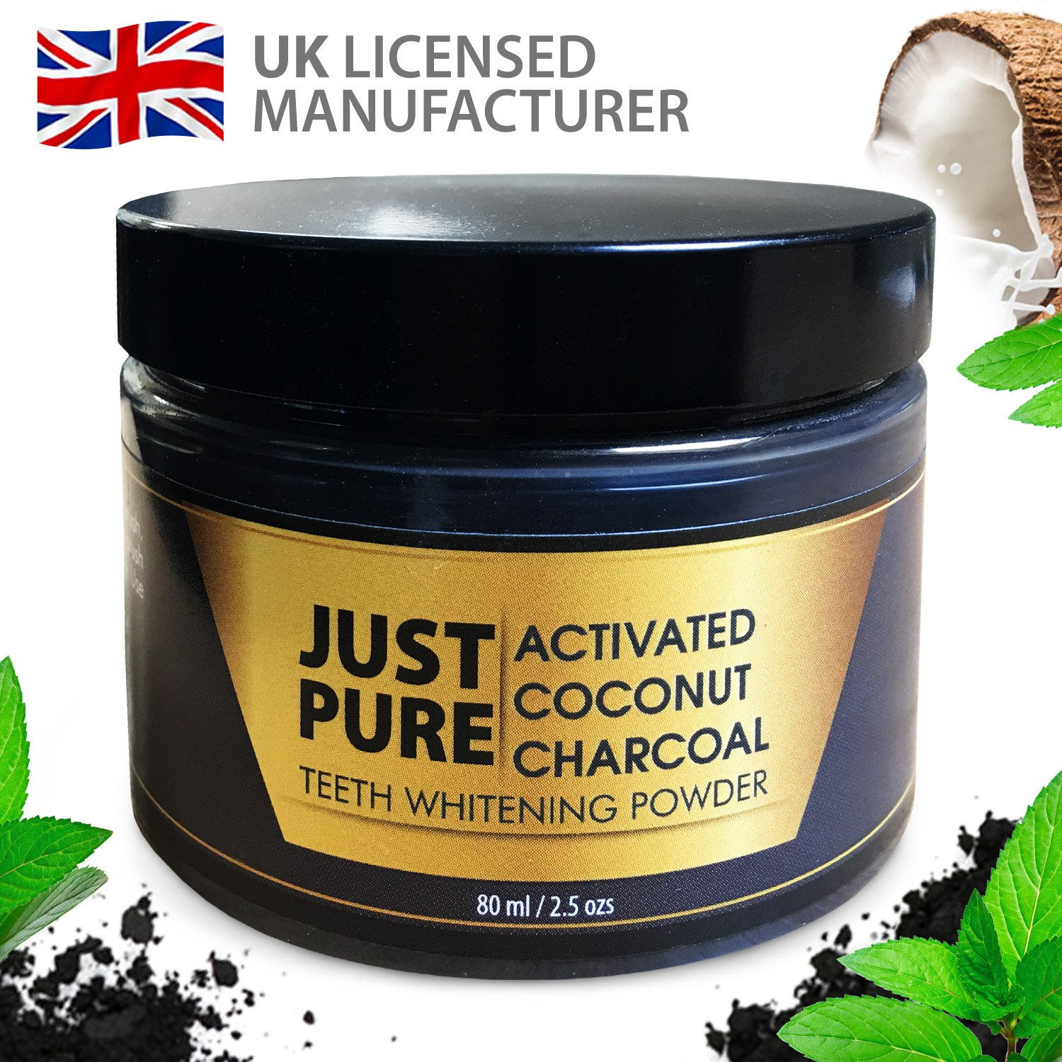 Activated Charcoal Powder - Teeth Whitener Made in The UK - Activated Charcoal Teeth Whitening for Whiter, Brighter Teeth Quickly - Teeth Whitening Kit 80ml product image
