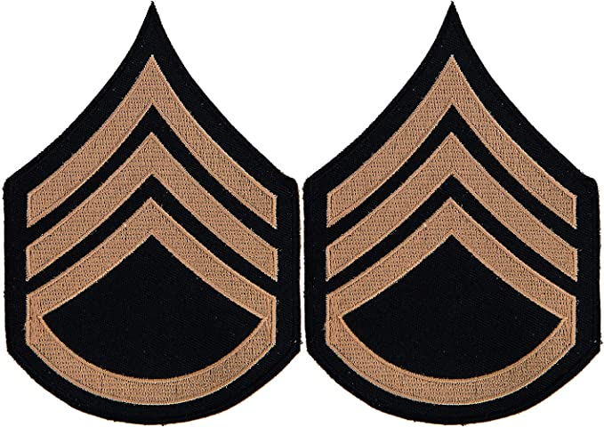 Male Khaki on Blue WWII//Korea Sergeant Chevrons