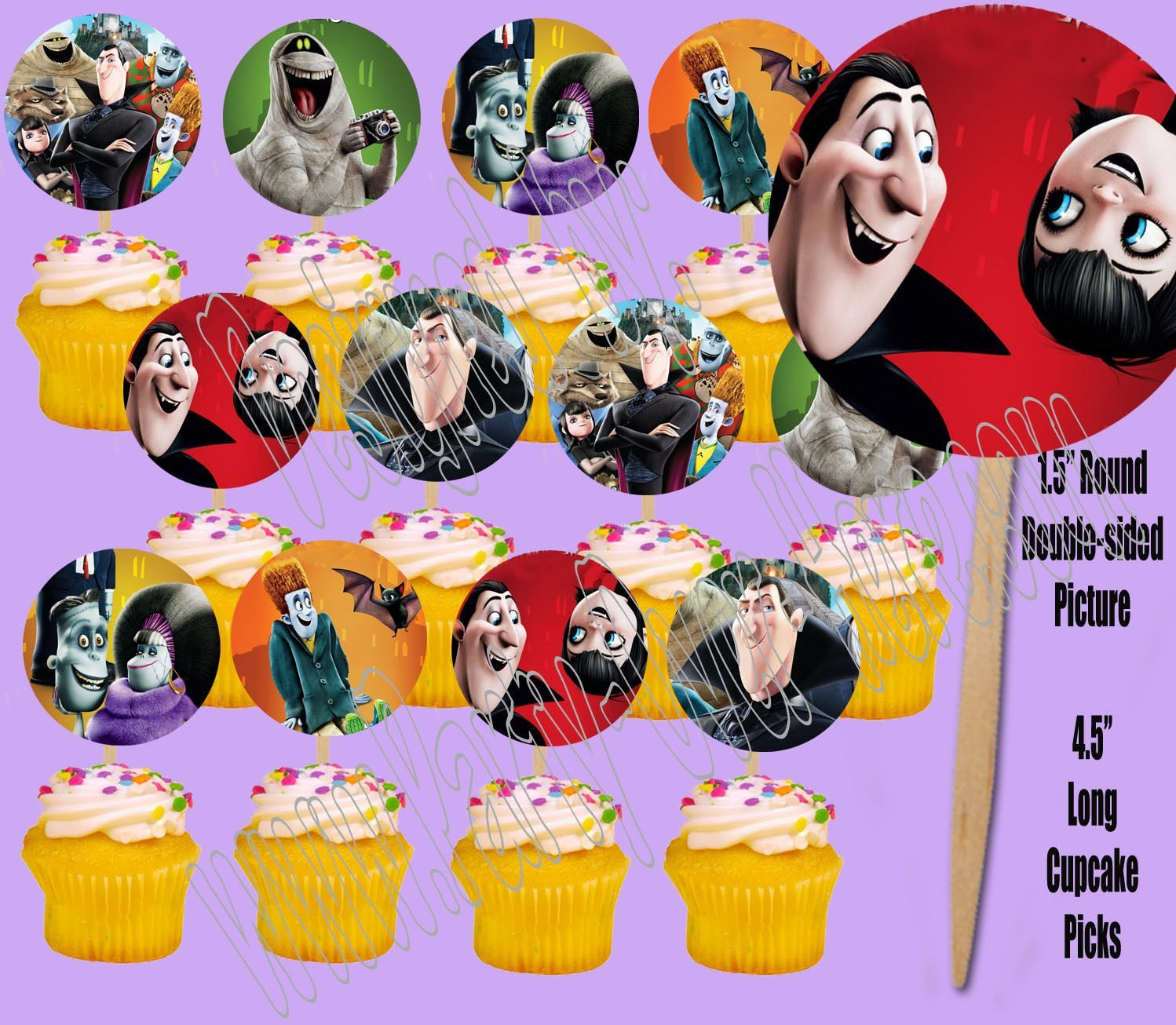 HOTEL TRANSYLVANIA Movie Double-Sided Cupcake Picks Cake Toppers -12 pcs