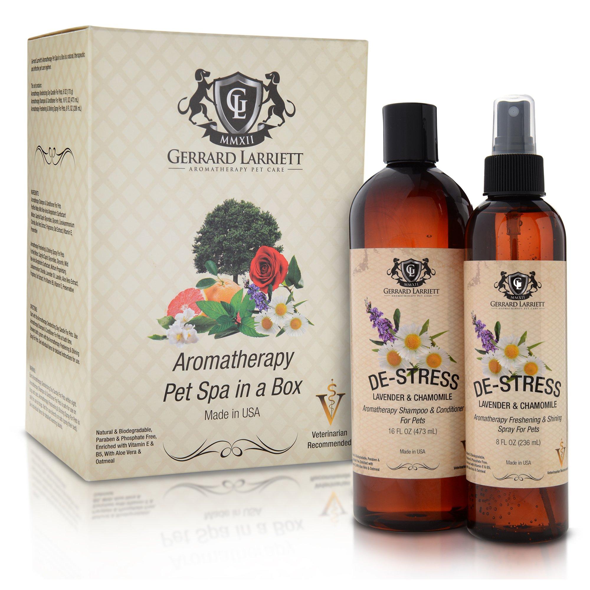 Lavender & Chamomile Aromatherapy Pet Spa Duo Dog Shampoo & Dog Grooming Spray Animal Lover Gift Set & Pet Odor Eliminator