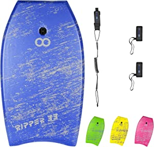 WOOWAVE Bodyboard 33-inch/36-inch/41-inch Super Lightweight Body Board with Coiled Wrist Leash, Swim Fin Tethers, EPS Core and Slick Bottom, Perfect Surfing for Kids Teens and Adults