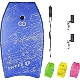 WOOWAVE Bodyboard 33-inch/36-inch/41-inch Super Lightweight Body Board with Coiled Wrist Leash, Swim Fin Tethers, EPS…