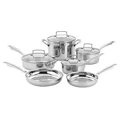 Cuisinart TPS-10 - Batería de cocina triple con 10 piezas, acero inoxidable,